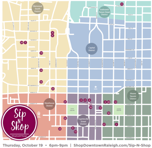 "Downtown Raleigh Retailers Open Late Tonight for ""Sip N Shop"" 